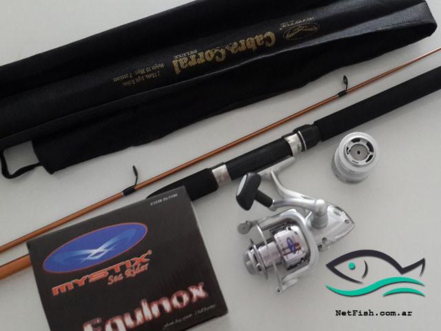 Combo:  Reel Equinox Mystix 3000 + Caña de pescar Mystix Cabra Corral 210